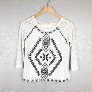 Free People Embroidered Lace Crop Top [C49]